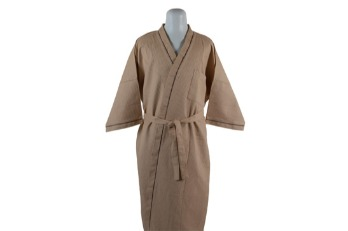 Bathrobe Polycotton Waffle Light Brown All