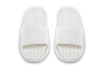 Slippers - Open Toe Polycotton Waffle White |