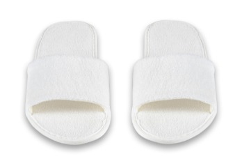 Slippers - Open Toe Cotton Terry All White