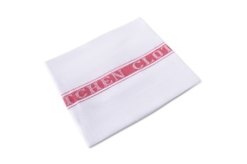 Kitchen Towel Stripe White/Red  |