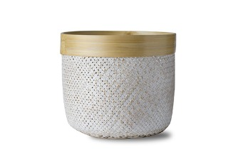 Round Bamboo Basket White Wash & Natural