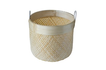 Round Bamboo Basket Rattan Ring Handle Natural