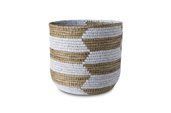 Round Basket Mendong Mix Rafia Natural White | Mendong