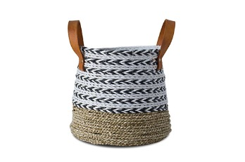 Wide Short Basket Real Leather Handle Natural White