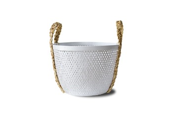 Round Bamboo Basket With Braided Handle White
