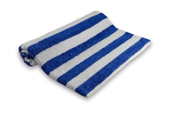 Pool Towel Stripe White/Dark Blue 100% Cotton
