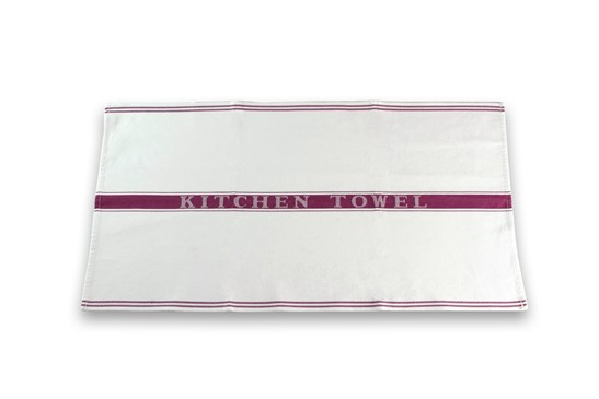 Kitchen Towel Stripe White/Pink