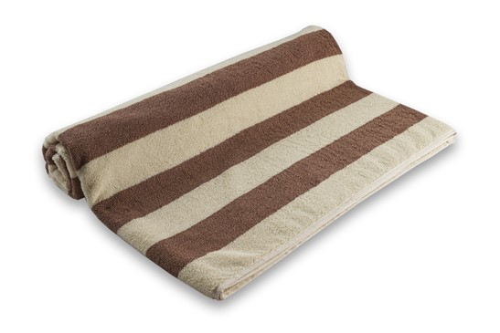 Pool Towel Stripe Brown/Ivory 100% Cotton