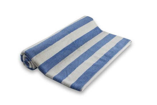 Pool Towel Stripe White/Light Blue 100% Cotton