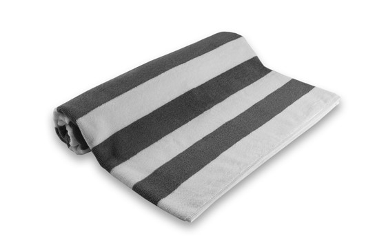 Pool Towel Stripe White/Grey 100% Cotton